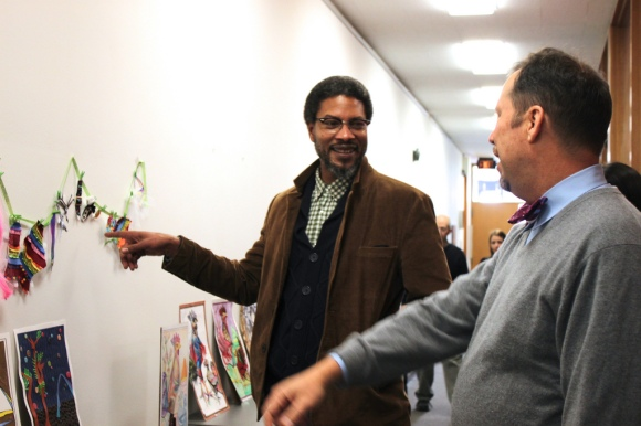 Reginald Baylor considers his options with Bryan Kwapil, Director of Visitor Experience.