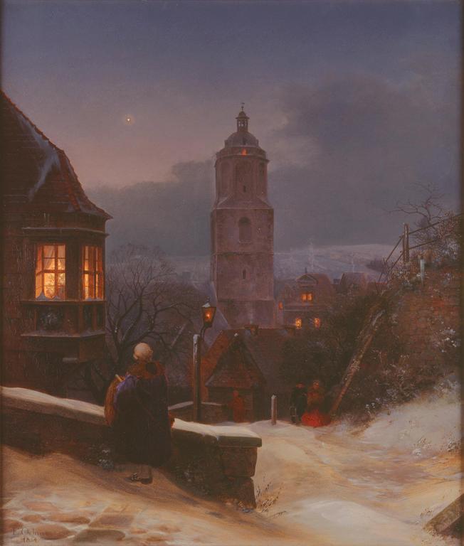 Ernst Ferdinand Oehme (German, 1797–1855), Meissen in Winter, 1854. Oil on canvas 27 x 23 in. Milwaukee Art Museum, Gift of the René von Schleinitz Foundation M1962.105. Photo credit P. Richard Eells.