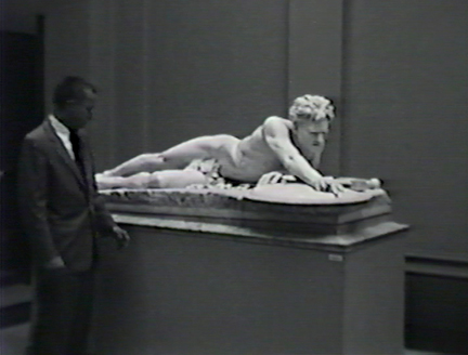 Film still: Director Edward Dwight with Gaetano Trentanove's The Last of the Spartans, circa 1957. Milwaukee Art Museum, Institutional Archives.