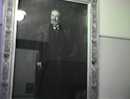 Film still: Eastman Johnson's Portrait of Frederick Layton in the Layton Art Gallery, circa 1957. Milwaukee Art Museum, Institutional Archives.