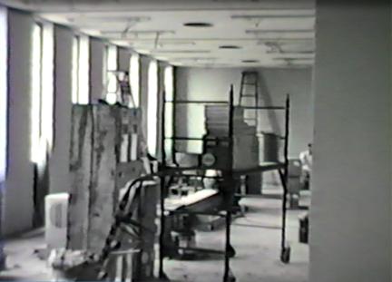 Construction of the interior of the Eero Saarinen-designed War Memorial and Milwaukee Art Center building, circa 1957. Milwaukee Art Museum, Institutional Archives.