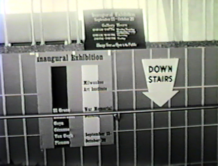 Film still: Signage for the Milwaukee Art Center's inaugural exhibition, 1957. Milwaukee Art Museum, Institutional Archives.