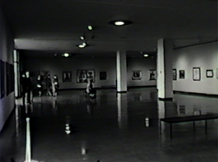 Film still: Interior image of the installation of the Milwaukee Art Center's inaugural exhibition, 1957. Milwaukee Art Museum, Institutional Archives.