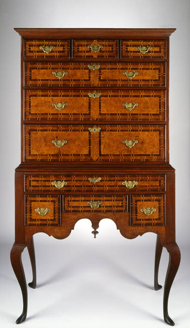 Veneered High Chest Of Drawers. Attributed To Christopher Townsend Or Job  Townsend, 1735