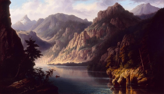 Henry Vianden, Landscape with Mountains and River, n.d. Oil on canvas. Milwaukee Art Museum, Gift of Frederick Vogel III on behalf of the family of Louise Pfister Vogel and Fred Vogel, Jr. Photo credit John R. Glembin