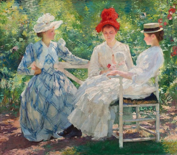 Edmund Charles Tarbell (American, 1862–1938). Three Sisters— A Study in June Sunlight, 1890. Oil on canvas. Milwaukee Art Museum, Gift of Mrs. Montgomery Sears. Photo credit John R. Glembin