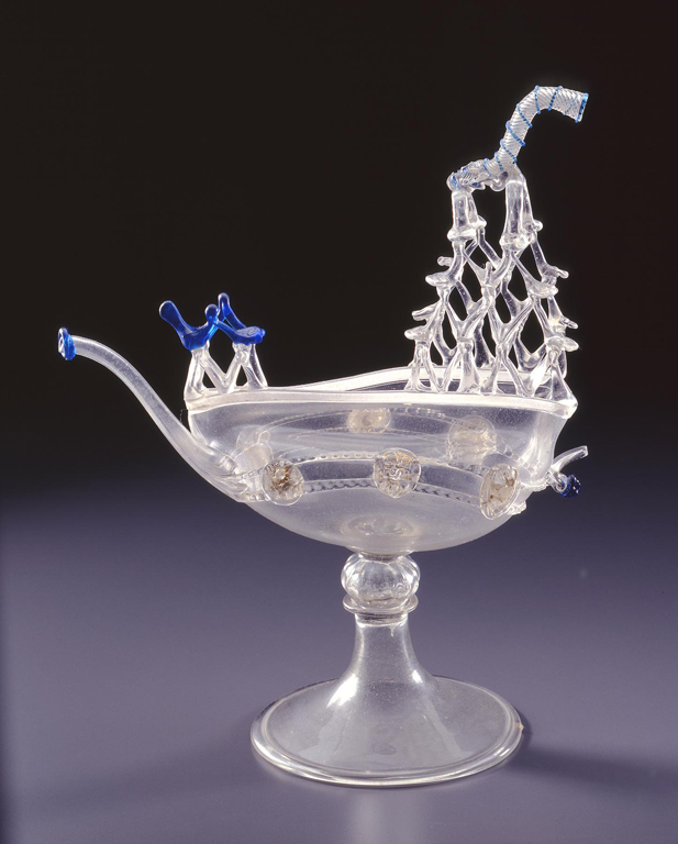 Murano, Italy. Nef Ewer, Late 16th century. Colorless cristallo and blue glass with gilded ornamentation. Milwaukee Art Museum, Gift of Gabriele Flagg Pfeiffer. Photo credit John Nienhuis