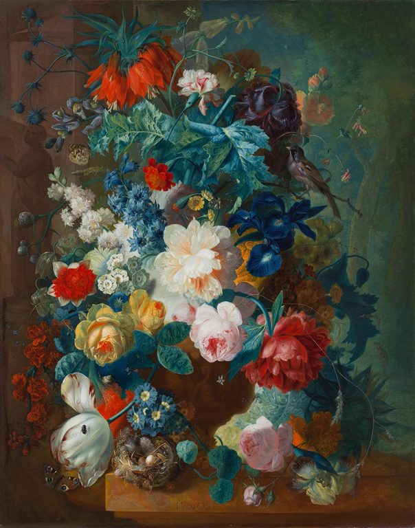 Jan van Os (Dutch, 1744–1808). Flowers in Terra-cotta Vase, after 1780. Oil on panel. Layton Art Collection, Gift of Frederick Layton. Photo credit John R. Glembin