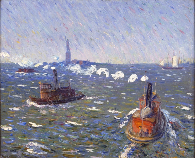 William James Glackens (American, 1870–1938). Breezy Day, Tugboats, New York Harbor, ca. 1910. Oil on canvas. Milwaukee Art Museum, Gift of Mr. and Mrs. Donald B. Abert and Mrs. Barbara Abert Tooman. Photo credit John Nienhuis