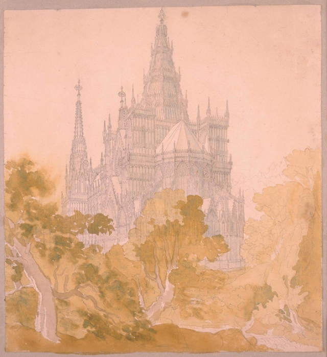 Karl Friedrich Schinkel (German, 1781–1841). A Gothic Cathedral behind Trees, ca. 1813/15. Pen and gray ink and watercolor over graphite. Milwaukee Art Museum, Purchase, René von Schleinitz Memorial Fund. Photo credit Larry Sanders
