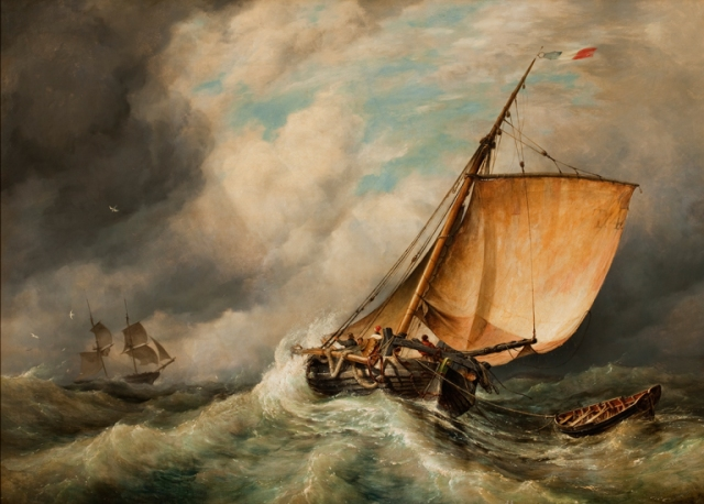 Edward William Cooke (English, 1811–1880). The Pilot Boat (Trouville Fishing Boat in a Fresh Breeze), ca. 1839. Oil on canvas. Milwaukee Art Museum, Layton Art Collection, Gift of Frederick Layton. Photo credit John R. Glembin