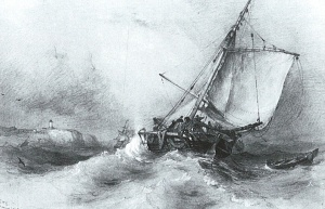 Edward William Cooke, Trouville fishing boat on larboard tack in rough sea, 1839. Watercolor Private Collection. Photo courtesy of the Martyn Gregory Gallery, London.