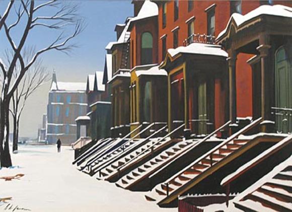 Richard H. Jansen (American, 1910–1988), East Side Street in Winter, n.d. Gouache on paper. Milwaukee Art Museum, Layton Art Collection, Gift of Layton Art League.