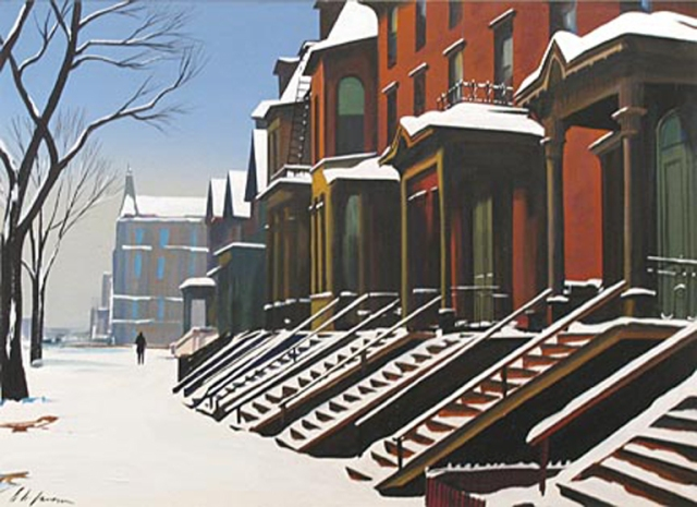 Richard H. Jansen (American, 1910–1988), East Side Street in Winter, n.d. Gouache on paper. Milwaukee Art Museum, Layton Art Collection, Gift of Layton Art League.