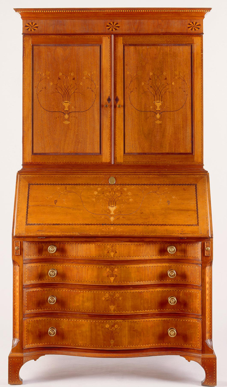 Nathan Lombard (Sutton, Massachusetts, 1777–1847), Desk and Bookcase, 1800–05. Cherry and pine with inlay of mahogany and unidentified woods with original brass hardware. Milwaukee Art Museum, Layton Art Collection, Purchase, Virginia Booth Vogel Acquisition Fund. Photo credit Gavin Ashworth