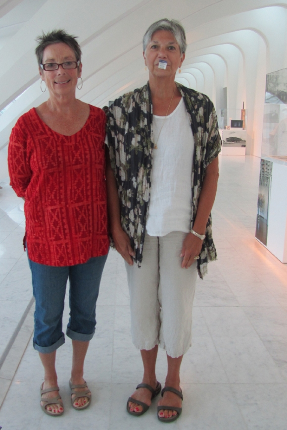 Maureen Fitzgibbon and Adele Kafrely visit the Museum on August 21, 2013. Photo by the author.