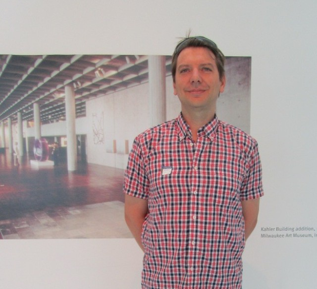 Hervé Busschaert visits the Museum on August 8, 2013. Photo by the author.