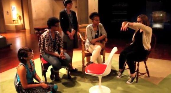 Teens talk with curator Mel Buchanan. Teens talk with Design staff. Screenshot of the teens' final project video.