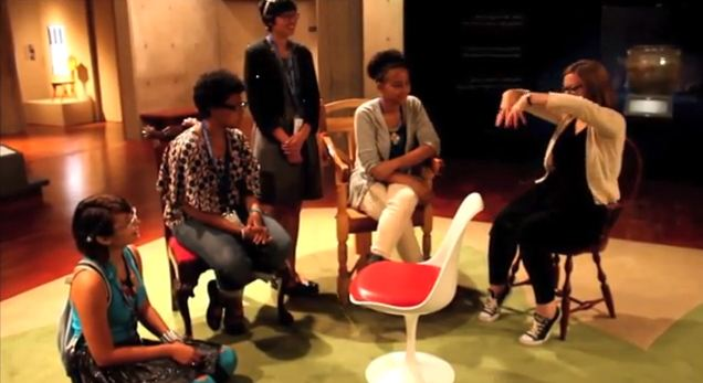 Teens talk with curator Mel Buchanan. Teens talk with Design staff. Screenshot of the teens' final project video.