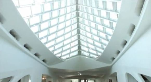 View of Windhover Hall. Screenshot of the teens' final project video.