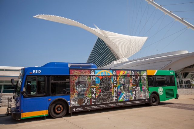 The bus, with completed mural, pulls up to the Museum on the day of the reception! Photo by Front Room Photography