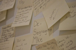 Close up of a post-it note station in 30 Americans.