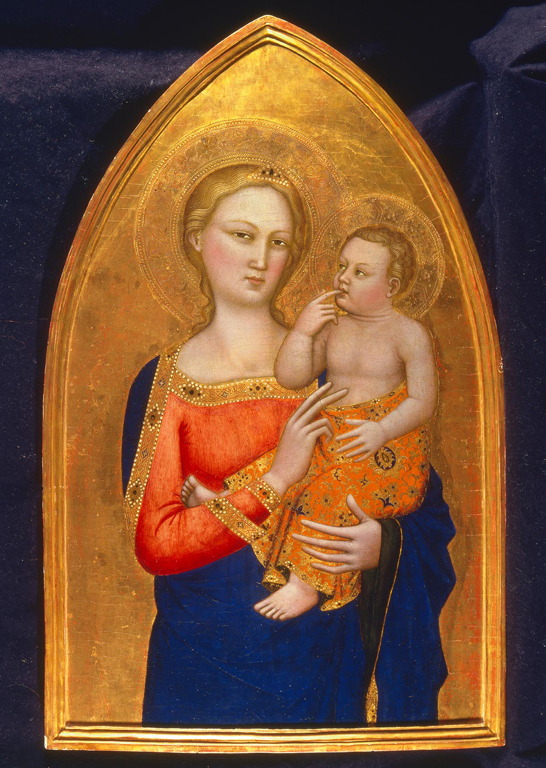 Nardo di Cione (Italian, ca. 1320–1365 or 1366), Madonna and Child, ca. 1350. Tempera and gold leaf on panel. 29 1/2 x 19 in. (74.93 x 48.26 cm). Milwaukee Art Museum, Purchase, Myron and Elizabeth P. Laskin Fund, Marjorie Tiefenthaler Bequest, Friends of Art, and Fine Arts Society; and funds from Helen Peter Love, Chapman Foundation, Mr. and Mrs. James K. Heller, Joseph Johnson Charitable Trust, the A. D. Robertson Family, Mr. and Mrs. Donald S. Buzard, the Frederick F. Hansen Family, Dr. and Mrs. Richard Fritz, and June Burke Hansen; with additional support from Dr. and Mrs. Alfred Bader, Dr. Warren Gilson, Mrs. Edward T. Tal, Mr. and Mrs. Richard B. Flagg, Mr. and Mrs. William D. Vogel, Mrs. William D. Kyle, Sr., L. B. Smith, Mrs. Malcolm K. Whyte, Bequest of Catherine Jean Quirk, Mrs. Charles E. Sorenson, Mr. William Stiefel, and Mrs. Adelaide Ott Hayes, by exchange.