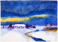 Emil Nolde (German, 1867–1956), Cottage on the North Sea in Winter, 1930s. Watercolor on paper. Milwaukee Art Museum, gift of Cynthia Davis Weix, M1999.10. Photo credit Larry Sanders. © Nolde Stiftung Seebüll