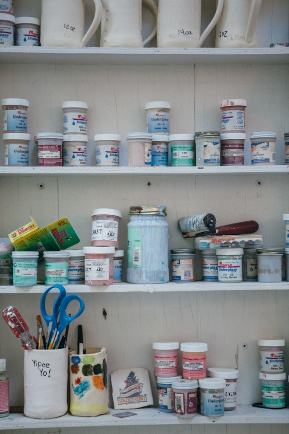 Glaze shelf. Photo by Megan Yanz Photography