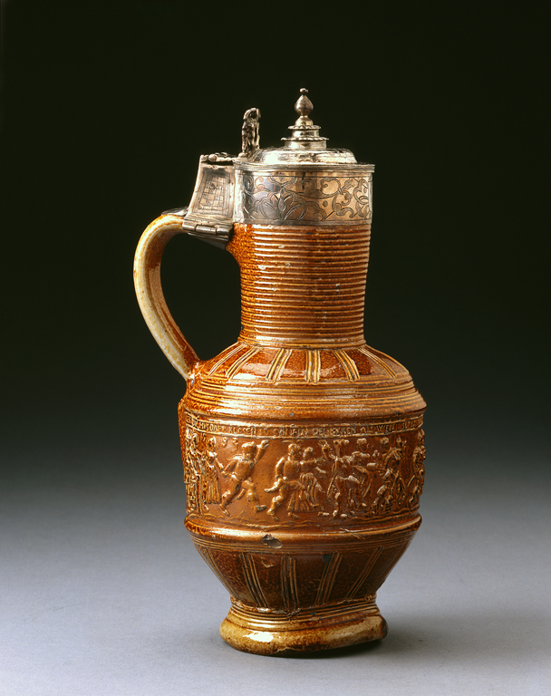Probably Raeren, Rhineland, Germany. Jug, ca. 1583. Salt-glazed stoneware with later silver mount. Milwaukee Art Museum, Gift of Richard and Erna Flagg, M1991.86. Photo credit John Nienhuis