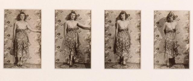 Eugene Von Bruenchenhein (American, 1910–1983), Untitled [portrait of the artist's wife, Marie (standing)], ca. 1940s. Four gelatin silver prints. Milwaukee Art Museum, gift of Christopher Goldsmith, M1991.614-.617. Photo credit: Larry Sanders © Lewis B. Greenblatt