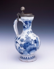 German, Covered Pitcher, 1700–40. Tin-glazed earthenware and pewter. Milwaukee Art Museum, Gift of Gabriele Flagg Pfeiffer M1997.226. Photo credit: John R. Glembin