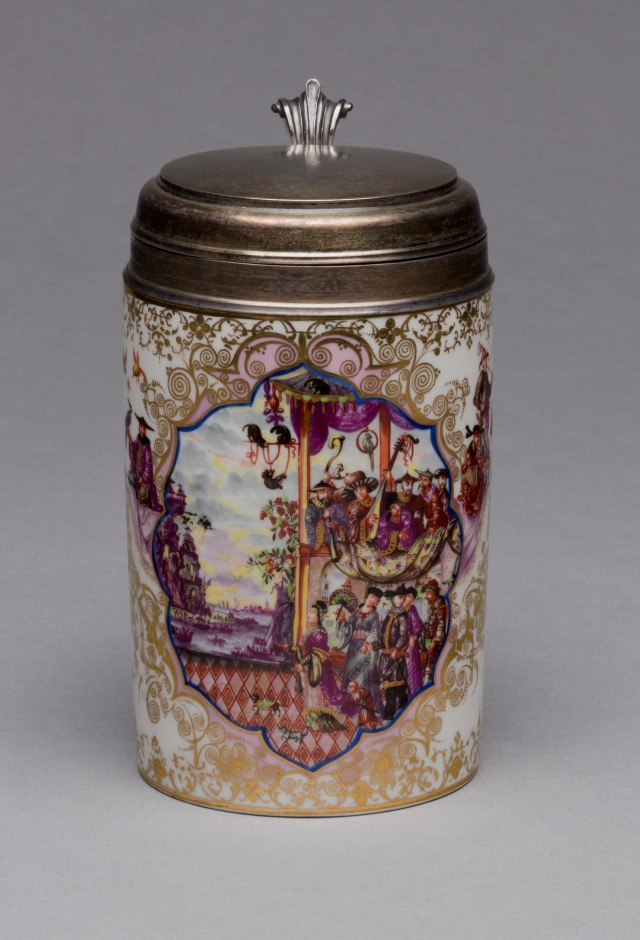 Meissen Porcelain Manufactory (Dresden, Germany, established 1710), Possibly Johann Gregorius Horoldt (German, 1696-1775), Tankard, ca. 1725. Glazed porcelain, polychrome overglaze decoration, gilding, and brass. Milwaukee Art Museum, Gift of the René von Schleinitz Foundation, M1995.2. Photo: John  Glembin
