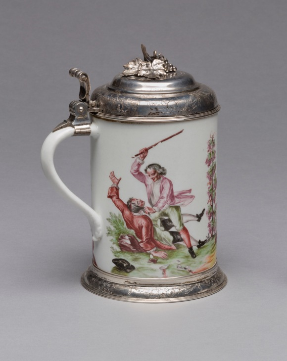 Meissen Porcelain Manufactory (Dresden, Germany, established 1710), Tankard, 1725–35. Glazed porcelain, polychrome overglaze decoration, and silver. Milwaukee Art Museum, Gift and Bequest of René von Schleinitz and the René von Schleinitz Foundation, M1995.1. Photo: John R. Glembin