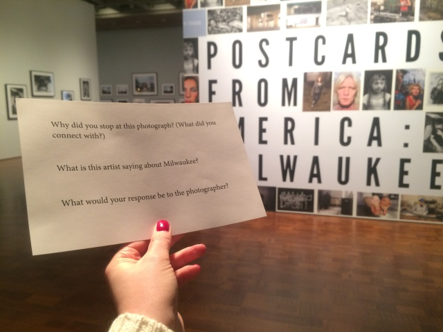 Title view of Postcards from America: Milwaukee, with prompts teens used to explore the exhibition.