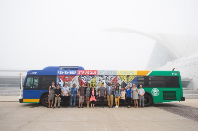 The ArtXpress students and the finished bus mural. Photo by Front Room Photography