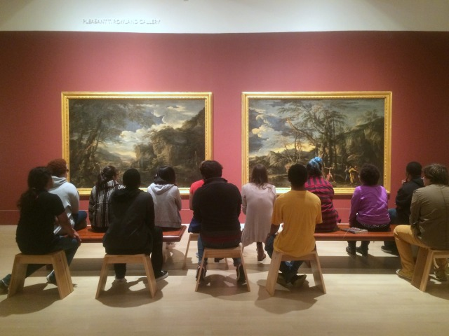 Satellite students spent an hour discussing Salvator Rosa's landscapes. Photo by Chelsea Emelie Kelly.