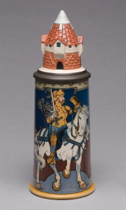 "Villeroy & Boch (Mettlach, Saarland, Germany, established 1836), designed by Heinrich Schlitt (German, 1849–1923). ""2765"" Stein, 1902. Stoneware, with colored slip and glaze decoration, and pewter. Milwaukee Art Museum, Gift of the René von Schleinitz Foundation M1962.848. Photo credit: John R. Glembin."