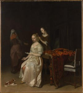 Jacob Ochtervelt (Dutch, 1634–1682), The Love Letter, early 1670s. Oil on canvas. The Metrpolitan Museum of Art, Gift of Mr. and Mrs. Walter Mendelsohn, 1980.