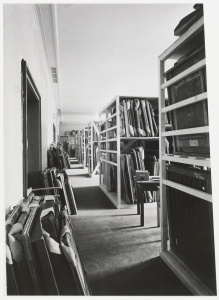 Paintings in storage at the MCCP. Image 101 of Photographs of the Central Collecting Point, Munich, by Johannes Felbermeyer. Special Collections of the Getty Research Institute, Los Angeles. Digital image courtesy of the Getty's Open Content Program.