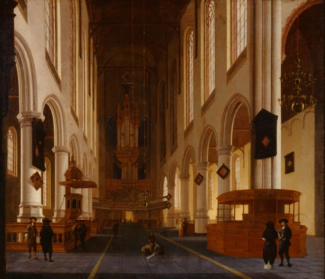 Hendrik Cornelisz. van Vliet (Dutch, ca.1611–1675). Old Church in Delft, ca. 1670, Oil on canvas, 36 × 42 1/2 in. (91.44 × 107.95 cm). Milwaukee Art Museum, Gift of William and Sharon Treul M1999.81. Photo by Efraim Lev-er.