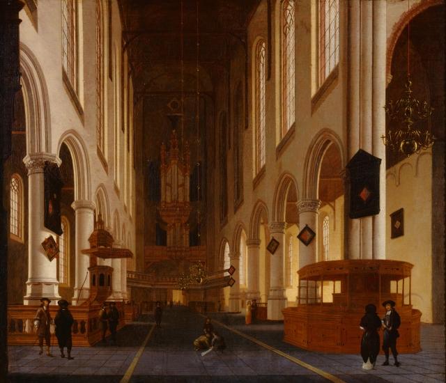 Hendrik Cornelisz. van Vliet (Dutch, ca.1611–1675). Old Church in Delft, ca. 1670, Oil on canvas, 36 × 42 1/2 in. (91.44 × 107.95 cm). Milwaukee Art Museum, Gift of William and Sharon Treul M1999.81. Photo by Efraim Lev-er.