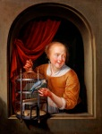 Pieter van Slingeland (Dutch, 1640–1691). A Young Woman at a Window with a Parrot and a Birdcage, ca. 1670. 9 × 7 in. (22.86 × 17.78 cm). Milwaukee Art Museum, Purchase, with funds from the Myron and Elizabeth P. Laskin Fund M2014.56.