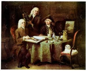 Aert Schouman (Dutch, 1710–1792). Portrait of Jan Bisschop, Pieter Bisschop, and Olivier van Vlierden Hope, 1753. Private Collection. Image number IB00075837, RKD Netherlands Institute for Art History.