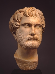 Roman, Late Hadrianic (AD 117–138) or Antonine (AD 138–193) Period. Portrait of a Man, 2nd century AD. Marble. height: 16 1/2 in. (41.91 cm). Milwaukee Art Museum, Gift of Suzanne and Richard Pieper M2004.582.