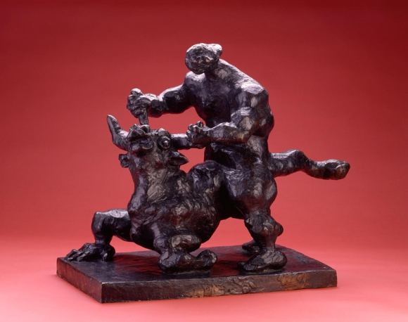 Jacques Lipchitz (French, b. Lithuania, 1891–1973, active in the United States), Theseus, 1942. Hollow bronze cast. height: 23 3/4 in. (60.33 cm). Milwaukee Art Museum, Gift of Mrs. William D. Vogel M1956.80. Photo credit: Larry Sanders. © Estate of Jacques Lipchitz, all rights reserved.
