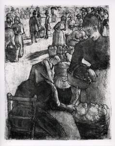 Camille Pissarro (French, 1830–1903), Vegetable Market at Pontoise, 1891. Etching, drypoint, and aquatint. Milwaukee Art Museum, Maurice and Esther Leah Ritz Collection M2004.283. Photo credit: Efraim Lev-er.