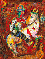 Marc Chagall (French, b. Belarus, 1887–1985), The Horseman, 1966. Oil on canvas. Milwaukee Art Museum, Gift of Mrs. Harry Lynde Bradley M1973.602. Photo credit: John R. Glembin. ©2010 Artists Rights Society (ARS), New York / ADAGP, Paris