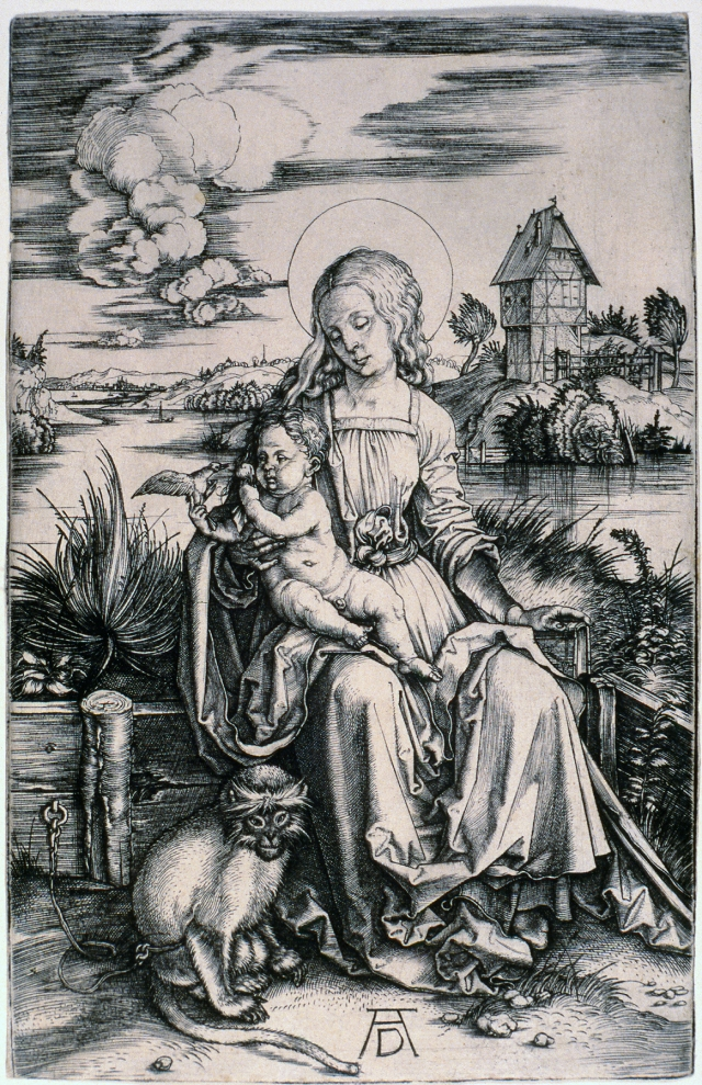 Albrecht Dürer (German, 1471–1528), Madonna with the Monkey, ca. 1498. Engraving. Milwaukee Art Museum, Gertrude Nunnemacher Schuchardt Collection, presented by William H. Schuchardt M1924.169. Photo credit: P. Richard Eells.