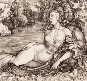 Albrecht Dürer (German, 1471–1528), The Sea Monster (Das Meerwunder) (detail), 1498. Engraving. Milwaukee Art Museum, Gertrude Nunnemacher Schuchardt Collection, presented by William H. Schuchardt M1924.173. Photo credit: John R. Glembin.